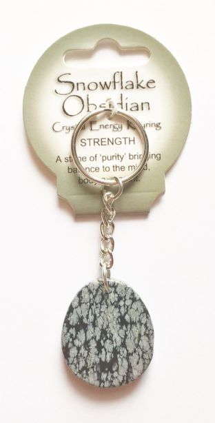 Crystal Energy - Snowflake Obsidian - Strength - Gemstone Keyring